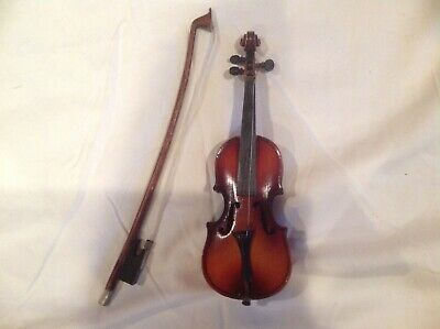 "Antique 9"" Salesman's Sample - Doll Accessories - Violin -  Bow  And Case -"
