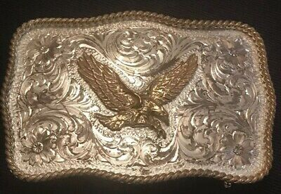 Vintage Estate Montana Silversmiths Sterling & Silver Eagle Belt Buckle