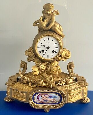 Antique 19th C French Gilt& Sevres Porcelain Figural Mantle Clock by Japy Freres