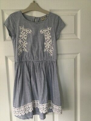 Girls Gorgeous Next Blue & White Striped Dress Age 9 Yrs - Excellent Condition