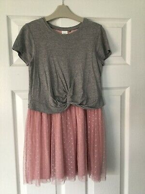 Girls Gorgeous Next Pink & Grey Lined Dress Age 9 Yrs - Excellent Condition
