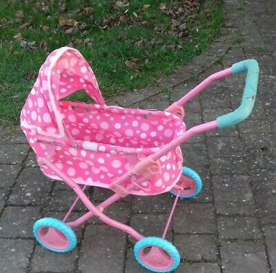Mini Dolls Metal Pram, Pink with white dots, Used condition,