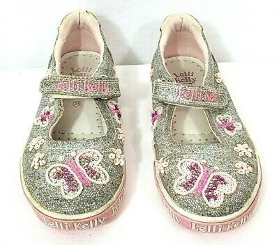 69e866580e327 Lelli Kelly US 13 or UK 31 Butterfly Mary Jane Shoes Silver Sparkle Pink  Beads