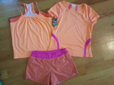 Active Athletic Performanc Wear 3 Pc Outfit Tank Top T Shirt Short Girls 14 16