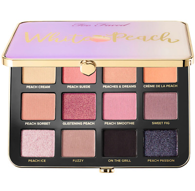 "NIB! Too Faced ""WHITE PEACH"" Eye Shadow Palette 12 Shades Scented Makeup Pink"
