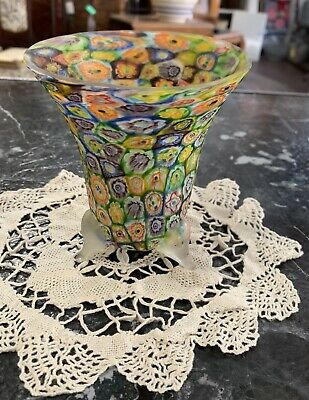 Antique~VINTAGE ITALIAN MURANO ART GLASS MILLEFIORI HAND BLOWN VASE