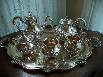 Silverplate tea coffee set w tray Reed&Barton Regent Shield teapot coffee server
