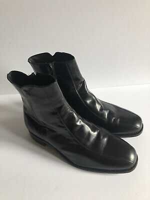 5b084eb89c9 MARIO CALUGI MADE in ITALY BROWN PATENT LEATHER SIDE ZIP ANKLE BOOTS ...