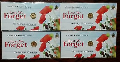 4 Rare 2012 Anzac Rememberance Day Red Poppy $2 Two Dollar Card Carded RSL Coin