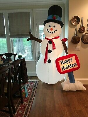 Gemmy 8 Ft Airblown Christmas Inflatable Blow Up Snowman Happy Holidays Lighted