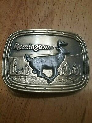 Remington Arms 1979 Sid Bell Designed Running  White Tail Deer Belt Buckle