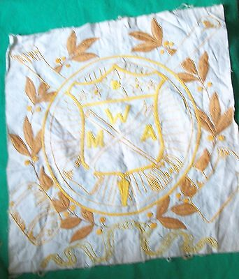 Old Modern Woodmen America Embroidery Needlework Mwa Silk Arts Handicraft Clothe