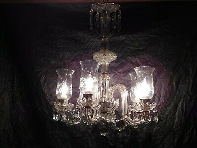 old antique crystal glass chandelier ceiling fixture light lamp vintage art deco