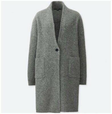 UNIQLO Wool Ribbed Knitted Coat Gray Small