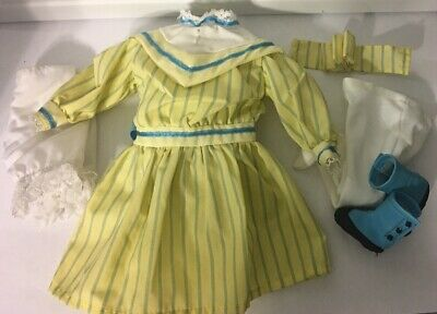 "Victorian Era Doll Clothes Dress Complete Outfit 14"" Doll yellow blue pearls"