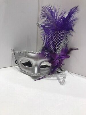 Ostrich Feather Venetian Masquerade Mask for Women M6123 Royal Blue