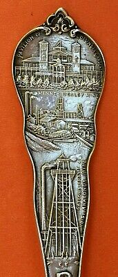 "Rare Mining Indian Big 5-3/4"" Butte Montana State Sterling Silver Souvenir Spoon"