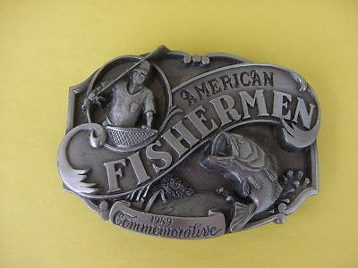 Vintage 1989 American Fisherman Commemorative Belt Buckle