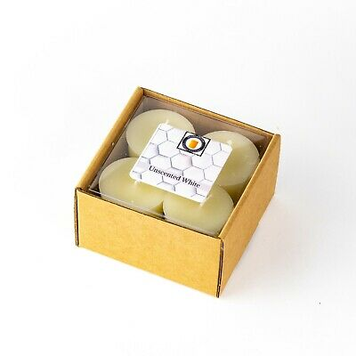 4 Natural Honey Scented 100 Percent  Beeswax Votives, Votive Candles, 15 Hour