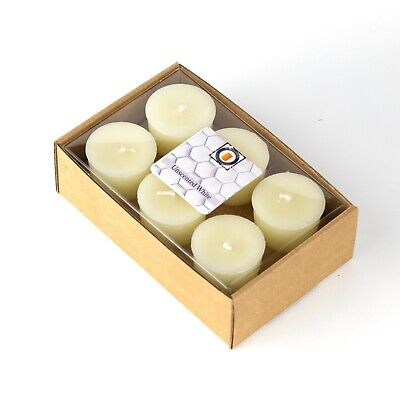 6 Natural Honey Scented 100 Percent  Beeswax Votives, Votive Candles, 15 Hour