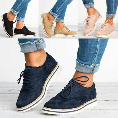 Womens Lace Up Brogues Flat Pumps Ladies Casual Work Smart Loafers Shoes Size AU