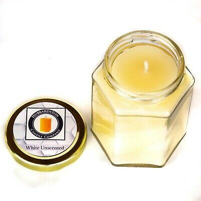 White Unscented Pure Beeswax Jar Candle, 8 oz