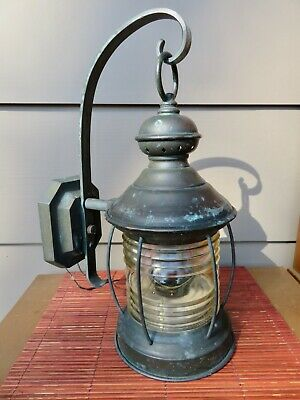 Vtg Copper Nautical Light Wall Mount Porch Post Lamp - Clear Ribbed Glass -Thick