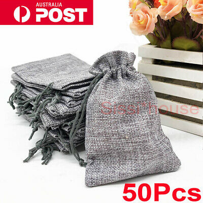 50PC Bag Natural Linen Pouch Drawstring Burlap Jute Sack Jewelry Gift Wedding