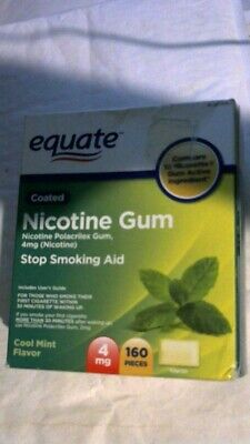 Equate Nicotine Gum, 4 MG, Coated Cool Mint Flavor, 160 Pieces, Exp. 06/2019