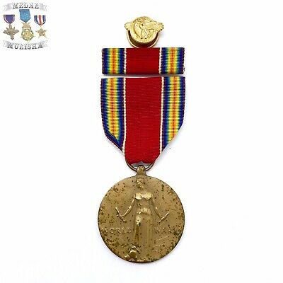 Wwii Us Victory Medal Ribbon Bar Honorable Discharge Ruptured Duck Lapel Pin 600