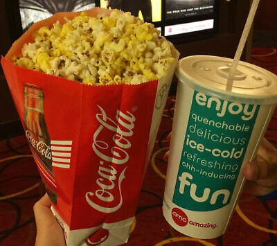 AMC Theaters 2 Large Drinks and One Large Popcorn
