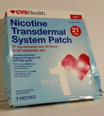 CVS Nicotine Transdermal System Patch Step 1 - 21mg - 7 Patches Exp 05/2019