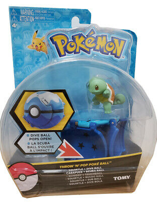 Tomy Pokemon Throw N POP Poke Ball Schiggy Squirtle + Dive Ball Figure Set
