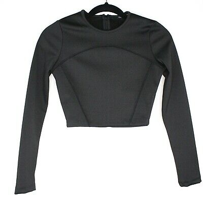 c58065a0fdbd NWOT Zara Collection Long Sleeve Cropped Crop Top Black Stretchy Size Small