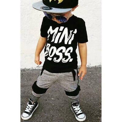 2 pieces Toddler Boy Clothes Short sleeve Mini Boss Print T Shirt Top Pants Set