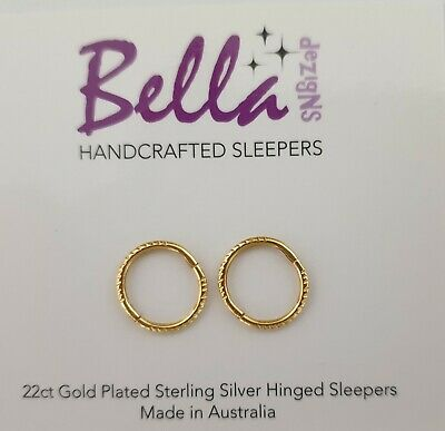 8mm MINI 22ct Gold Plated on Solid Sterling Silver Sleeper Earrings PLAIN/TWIST