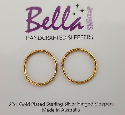 16mm LGE 22ct Gold Plated on Solid Sterling Silver Sleeper Earrings TWIST/FACET