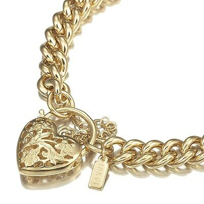 18K Yellow Gold GL Womens Solid Med Euro Curb Bracelet /Bangle & Heart 20cm