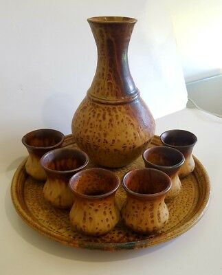 Vintage Australian Studio Pottery Decanter Set. Sold out of Bluegum Gallery NSW