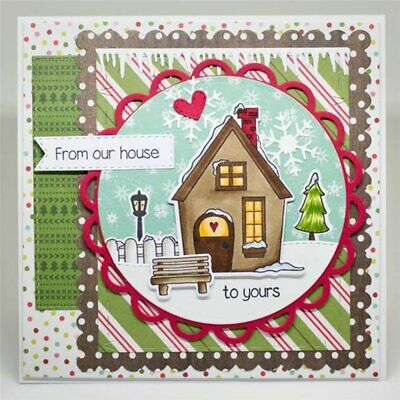 Winter House Street Light Tree Metal Cutting Dies Stamps and Dies Cuts