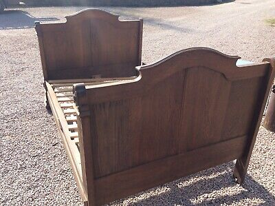 Old Oak Sleigh Bed (Antique,french?)