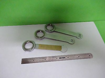 For Parts Microscope Objective Lot 3 Ea Handles Holder ?? Bin#Y2-07