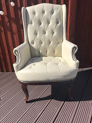 Chesterfield Wing Back Queen Anne High Back Fireside Armchair Sofa Chair