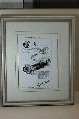 Vintage MG Cars Advertising Page Framed 1946