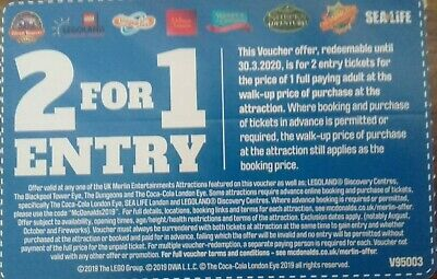 2for1 Entry LegoLand Alton Towers Thorpe Park Warwick Castle Chessington Sealife