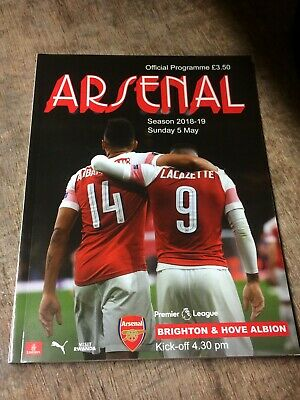 ARSENAL V BRIGHTON 5th May 2019 Mint Condition Programme