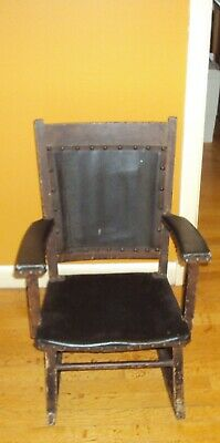 Wood And Leather Antique Child's Rocking Chair