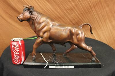 "Extra Large Bronze Coffee Wall Street Bull Market Stock OX Figure Statue 18""Long"