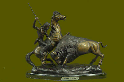 "Bronze Sculpture ""Buffalo Hunt"" Solid Bronze Statue Inspired by F. Remington Art"