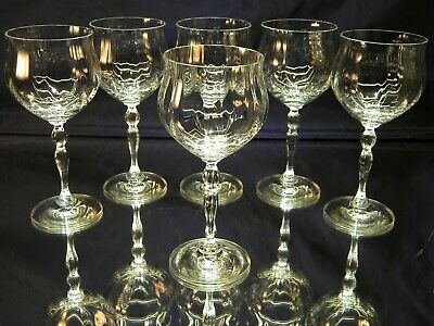 SET of 6 BEAUTIFUL Large Clear Water Wine Goblets Glasses